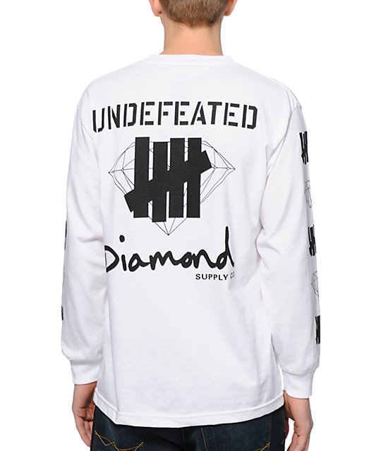 Diamond Supply Co x Undefeated White Long Sleeve Shirt