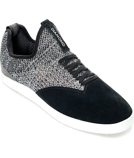 Diamond Supply Co. All Day Black & White Knit & Suede Skate Shoes