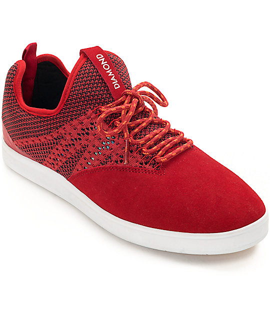 Diamond Supply Co. All Day Red & White Suede Skate Shoes