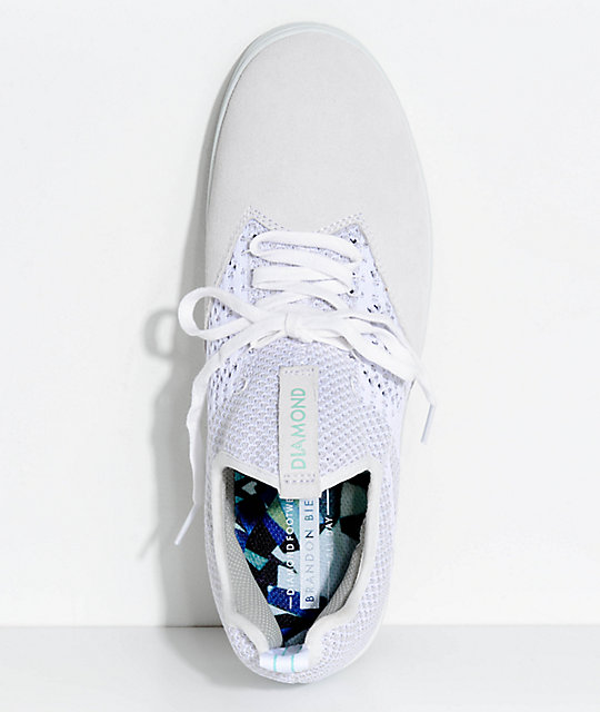 Diamond Supply Co. All Day White Knit & Suede Skate Shoes