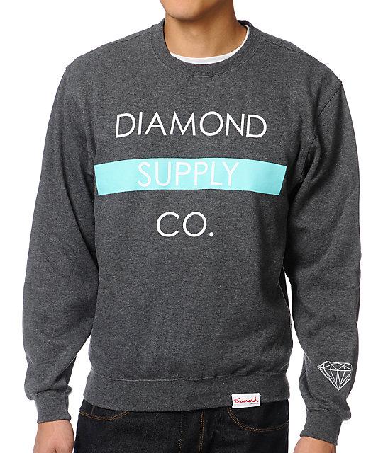Diamond Supply Co. Bar Charcoal Crew Neck Sweatshirt