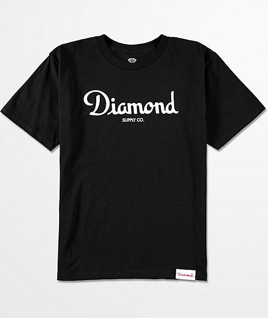 Diamond supply co boys champagne script black t shirt for Wholesale diamond supply co shirts