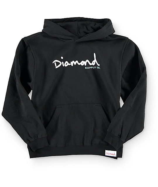 Diamond Supply Co. Boys OG Script Black Hoodie