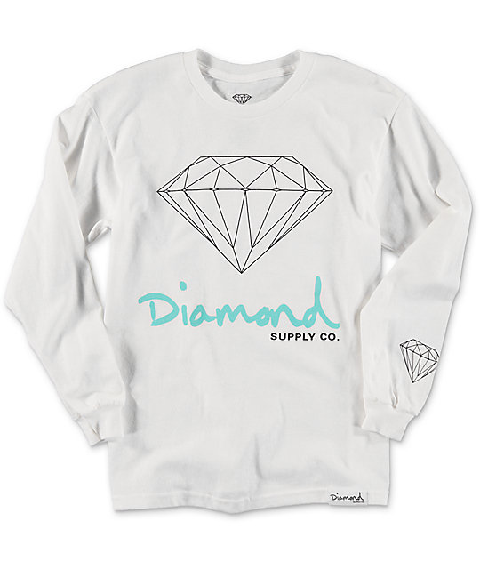 Diamond Supply Co. Boys OG Sign White Long Sleeve T-Shirt