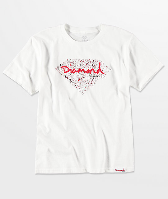 Diamond Supply Co. Boys Splatter Diamond White T-Shirt