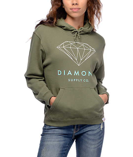 Diamond Supply Co. Brilliant Green & White Pullover Hoodie