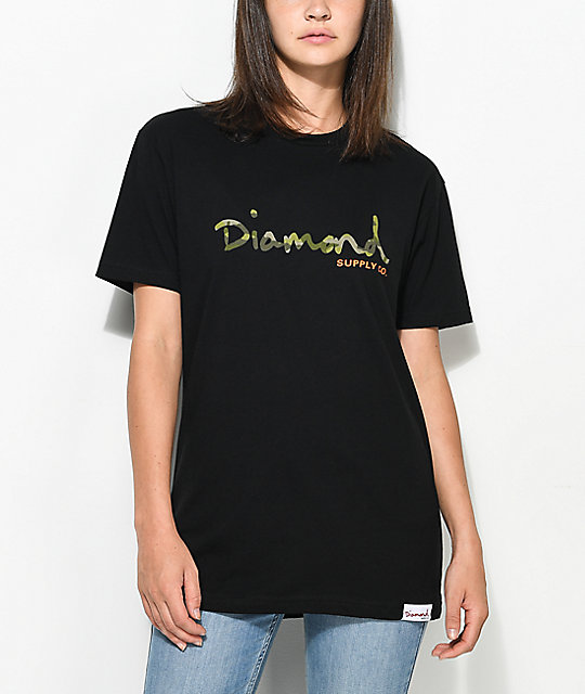 Diamond Supply Co. Camo OG Script Black Boyfriend T-Shirt