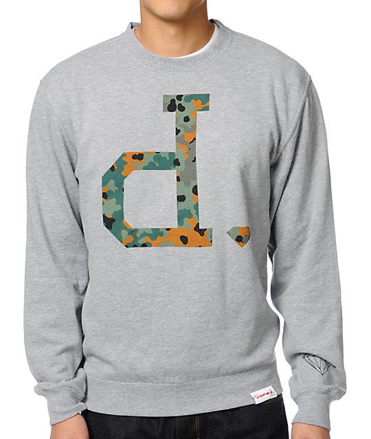 Diamond Supply Co. Camo Unpolo Heather Grey Crew Neck Sweatshirt