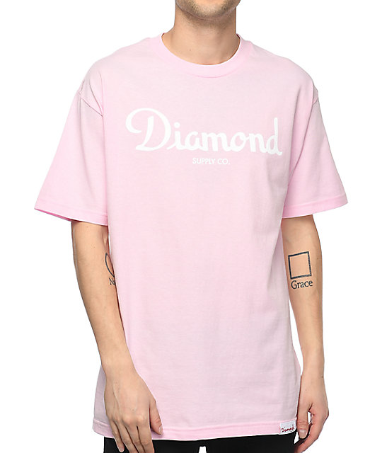 Diamond Supply Co. Champagne Sign Pink T-Shirt