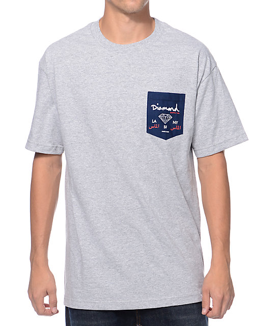 Diamond Supply Co. City Label Grey Pocket T-Shirt
