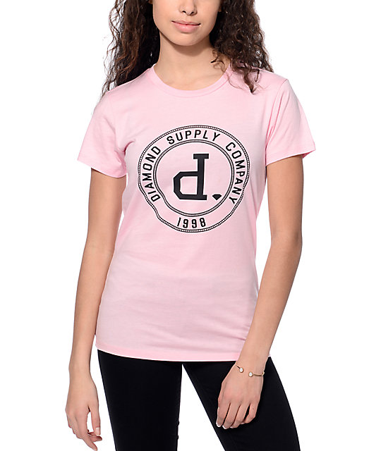 Diamond Supply Co. College Seal Pink T-Shirt