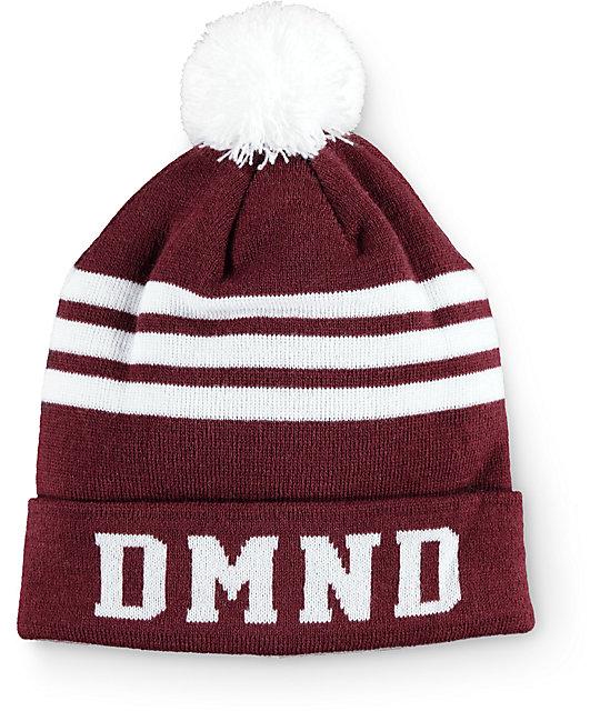 Diamond Supply Co. DMND Burgundy & White Stripe Beanie