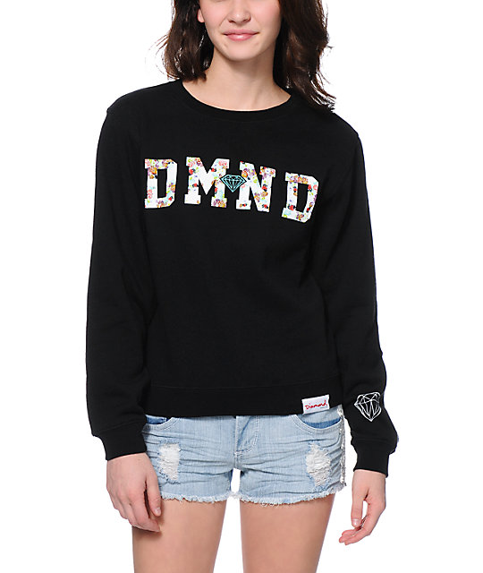 Supply Co. DMND Floral Fill Black Crew Neck Sweatshirt