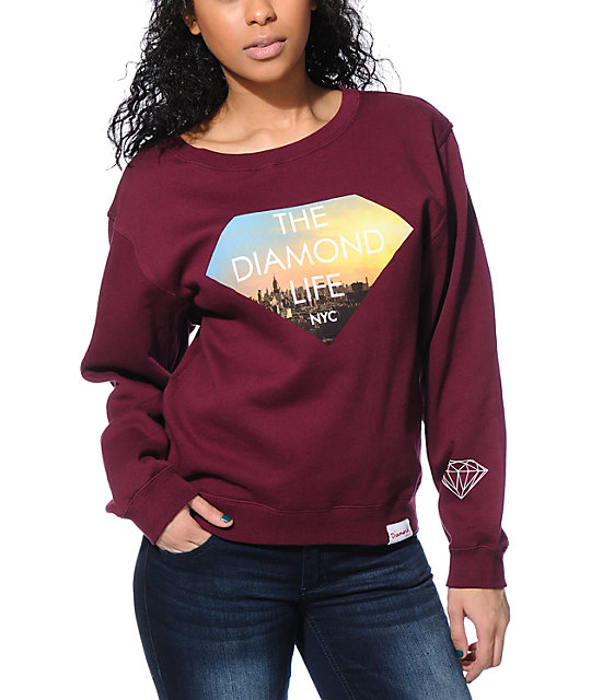 Diamond Supply Co. Diamond Life NYC Maroon Crew Neck Sweatshirt
