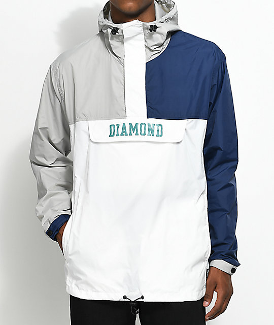 Diamond Supply Co. Drexel Blue, White & Grey Anorak Jacket