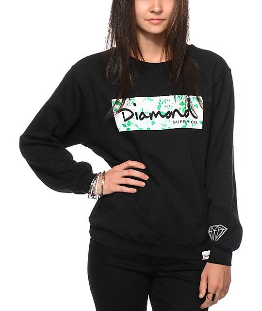 Diamond Supply Co. Floral Box Logo Black Crew Neck Sweatshirt