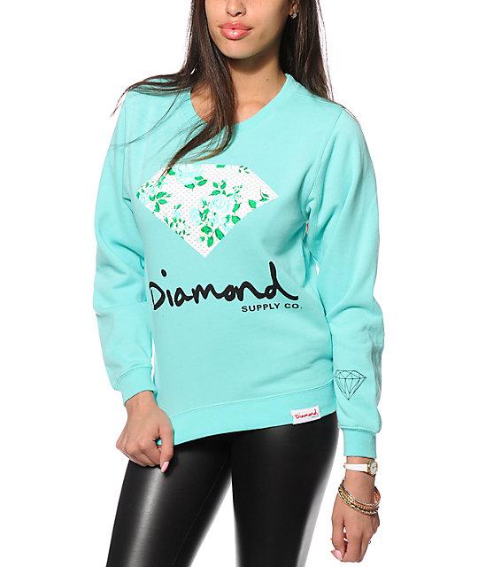 Diamond Supply Co. Floral Diamond Blue Crew Neck Sweatshirt - photo#28