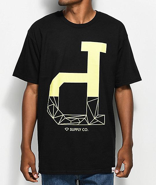 Diamond supply co fractal un polo black t shirt zumiez for Diamond supply co polo shirts