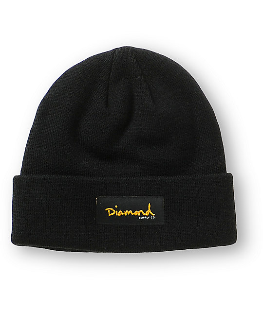 Diamond Supply Co. Gold Foil Black Beanie