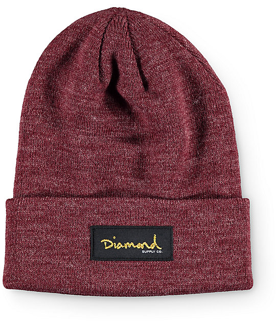 Diamond Supply Co. Gold Foil Burgundy Beanie