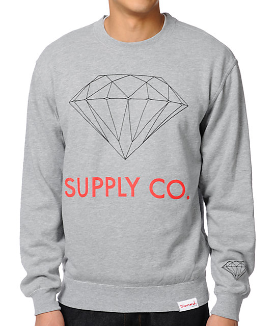 Diamond Supply Co. Heather Grey Crew Neck Sweatshirt