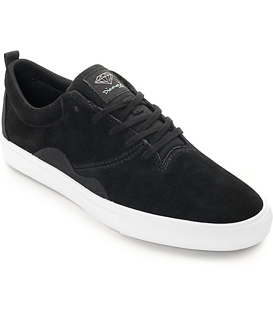 Diamond Supply Co. Lafayette Black & White Suede Skate Shoes - photo#3