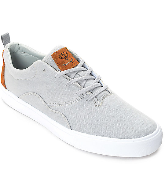 Diamond Supply Co. Lafayette Grey, Brown & White Skate Shoes - photo#11