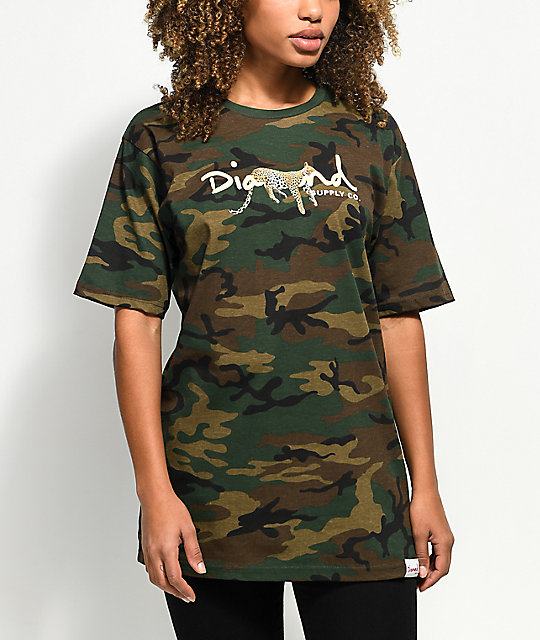 Diamond Supply Co. Leopard OG Script Camo T-Shirt