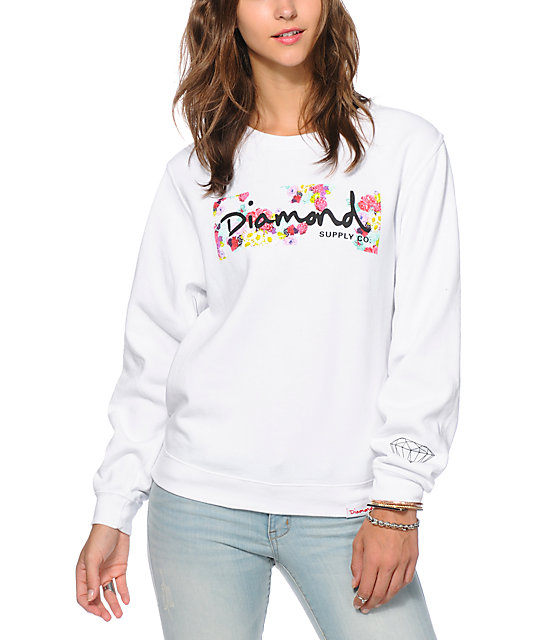 Diamond Supply Co. Neon Floral Box Logo Crew Neck Sweatshirt