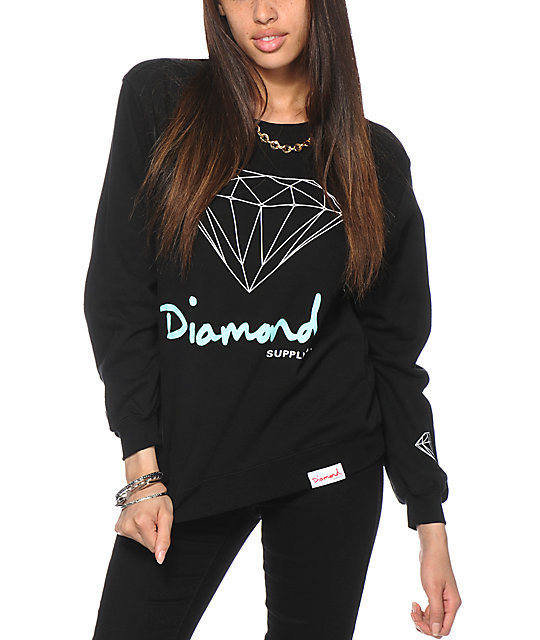 Diamond Supply Co. OG Script Black Crew Neck Sweatshirt | Zumiez