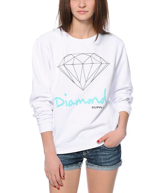 Diamond Supply Co. OG Script White Crew Neck Sweatshirt - photo#30