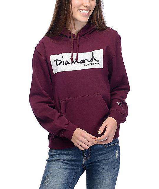 Diamond Supply Co. Radiant Box Logo Burgundy & White Pullover Hoodie