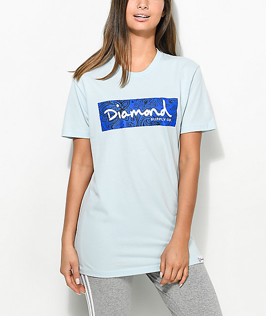 Diamond Supply Co. Radiant Box Logo Light Blue T-Shirt