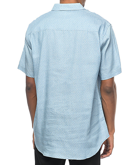 Diamond Supply Co. Repeat Light Blue Short Sleeve Button Up Shirt