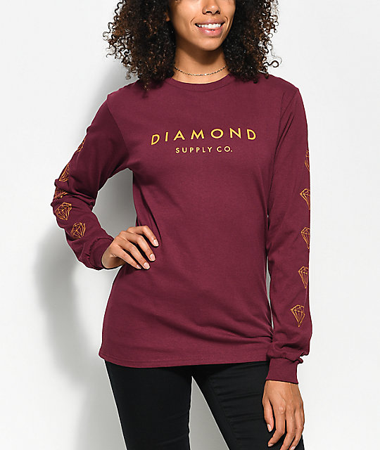 Supply Co. Stone Cut Burgundy Long Sleeve T-Shirt
