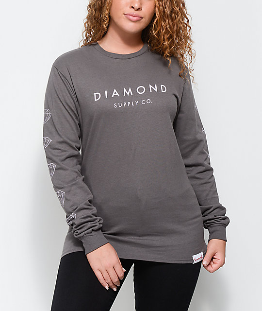 Diamond Supply Co. Stone Cut Grey Long Sleeve T-Shirt