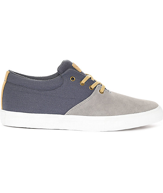 Diamond Supply Co. Torey Grey Suede & Blue Canvas Skate Shoes
