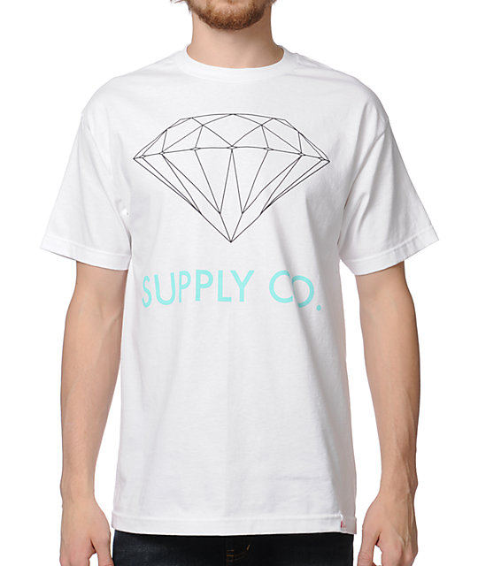 Diamond Supply Co. White & Mint T-Shirt