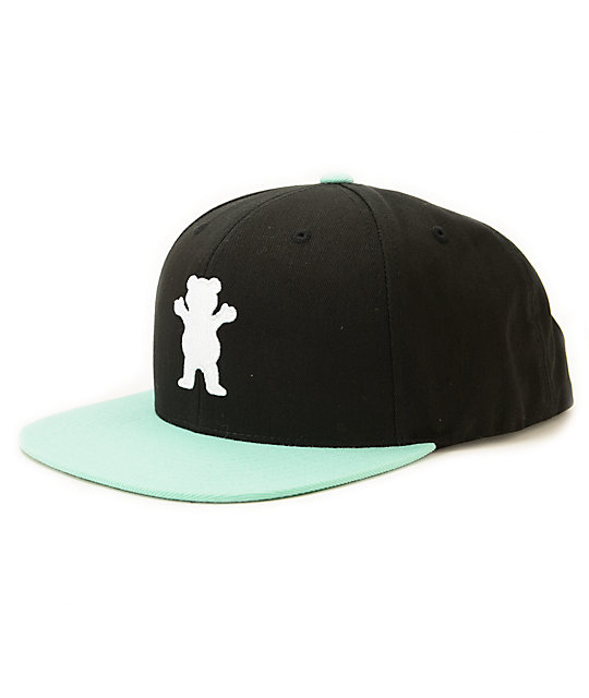 diamond supply co x grizzly og logo black snapback hat at
