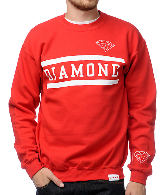 Diamond Supply Collegiate Red Crew Neck Sweatshirt at Zumiez : PDP