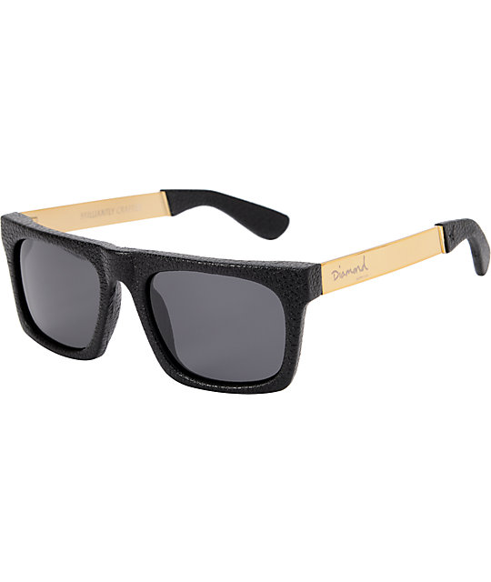 Diamond Supply Cordova Black & Gold Leather Sunglasses