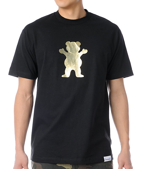 Diamond Supply Grizzly Gold Foil Bear Black T-Shirt