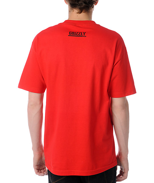 Diamond Supply Grizzly Gold Foil Red T-Shirt