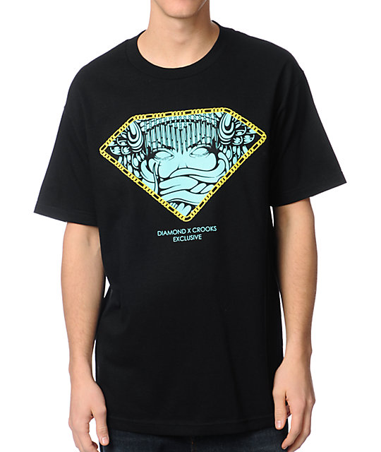 Diamond Supply x Crooks & Castles Exclusive Black T-Shirt