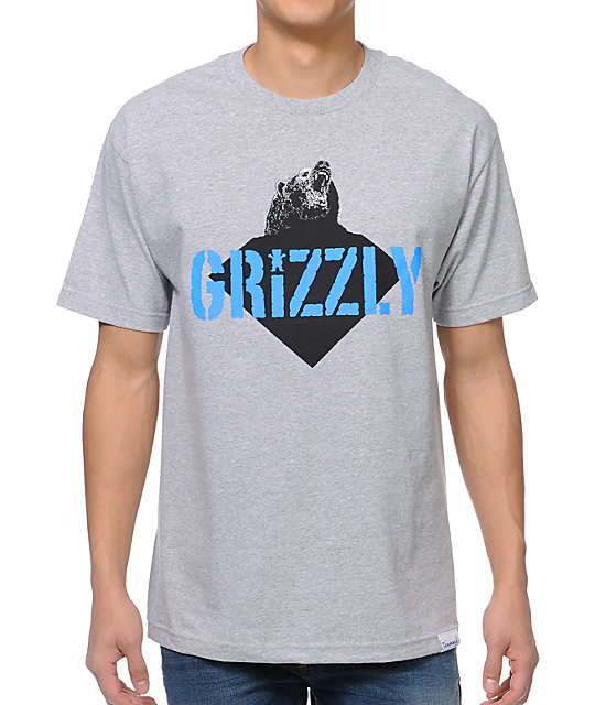 Diamond Supply x Grizzly Grip Tape Beast Heather Grey T-Shirt