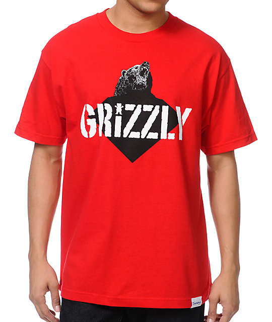 Diamond Supply x Grizzly Grip Tape Beast Red T-Shirt