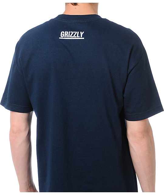 Diamond Supply x Grizzly Grip Tape Brilliant Bear Navy Blue T-Shirt