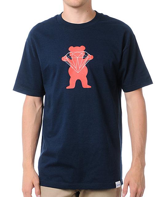 Diamond Supply x Grizzly Grip Tape Brilliant Bear Navy Blue T-Shirt
