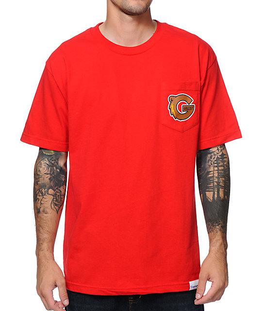Diamond Supply x Grizzly Grip Tape G-Logo Red Pocket T-Shirt