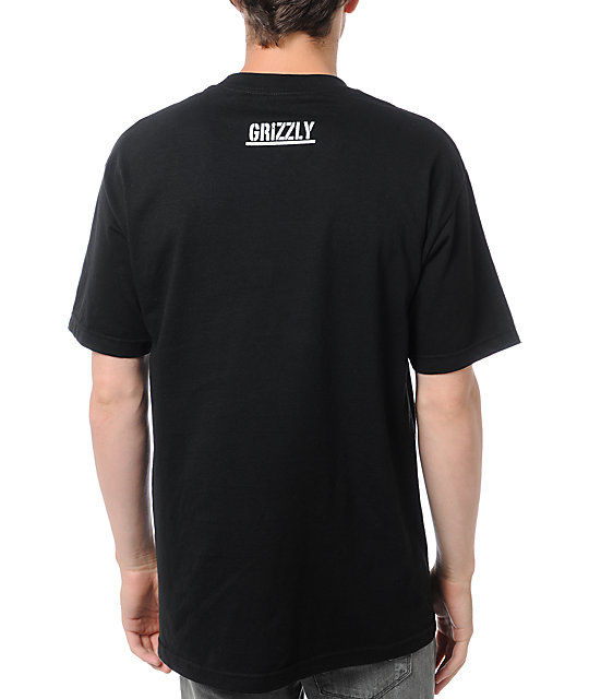 Diamond Supply x Grizzly Grip Tape Smoke Bear Black T-Shirt